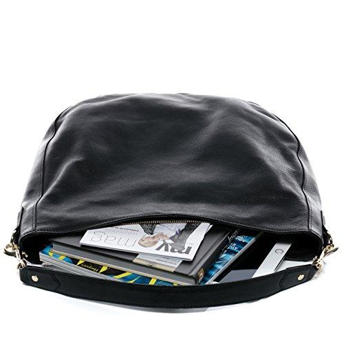 BACCINI® Beuteltasche NELA - Damen Schultertasche groß Ledertasche - Hobo Bag Damentasche echt Leder schwarz