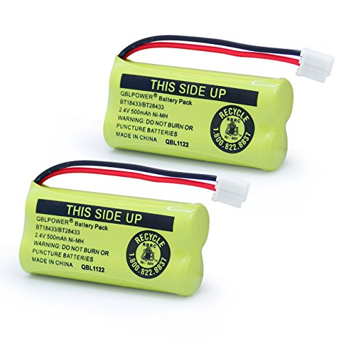 QBLPOWER 2.4V Rechargeable Battery Compatible with AT&T Vtech Phones BT18433 BT184342 BT28433 BT284342 BT-8300 BATT-6010 BT1011 BT1018 BT1022 BT1031 89-1326-00-00/89-1330-01-00/CPH-515D(Pack of 2)