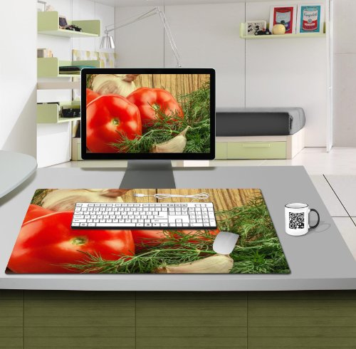 Fresh Vegetables Tomatos Garlic Condiments Table Mats Customized Made to Order Support Ready 28 6/16 Inch (720mm) X 17 11/16 Inch (450mm) X 1/8 Inch (4mm) High Quality Eco Friendly Cloth with Neoprene Rubber MSD Deskmat Desktop Mousepad Laptop Mousepads Comfortable Computer Place Play Mat Cute Gaming Mouse pads