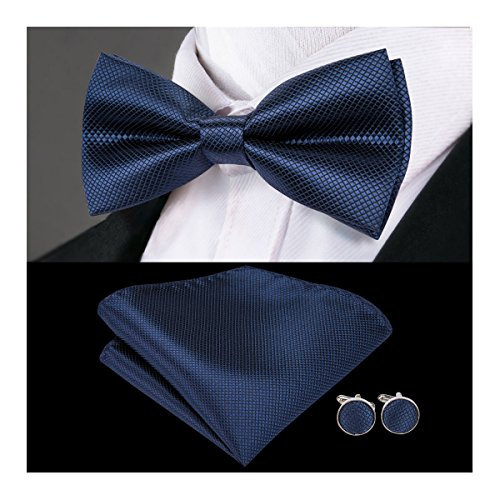 Dubulle Silk Bow Tie and Cufflinks Mens Bowtie Hankies Set Navy Mens Fashion Ties