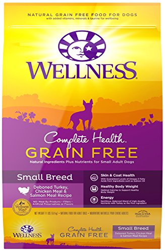 Wellness Complete Health Natural Grain Free Dry Small Breed Dog Food, Turkey, Chicken & Salmon, 11-Pound (Wellness Adult Salmon)