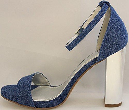 Sandali blu con tacco a blocco per donna DVkJFSPP72