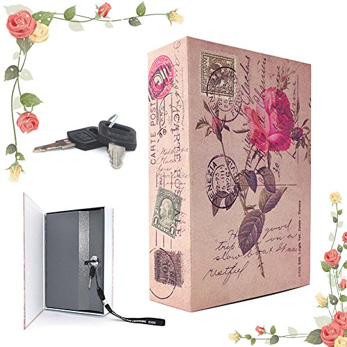 EIOU 7.1 * 4.7 *2.3 inches Beautiful Rose Locking Book Safe With Key Security Diversion Hidden Book Safe With Strong Metal Case inside safe
