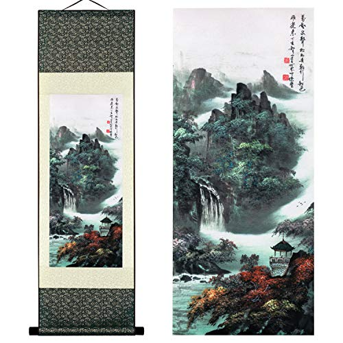 UNIQUELOVER Wall Art - Chinese Landscape Ink Painting Home Decoration Paintings and Hanging Art, Wall Scroll, Print Painting, Beautiful Scenery of Autumn Mountain River, Waterfall