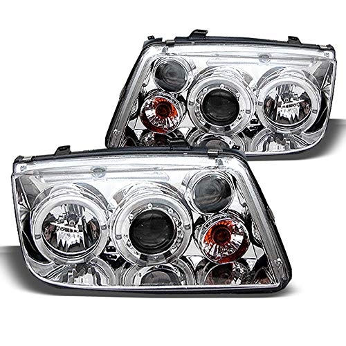 Xtune for 1999-2005 Volkswagen Jetta Dual Halo Projector Headlights Head Lights Pair Left+Right 2000 2001 2002 2003 ()