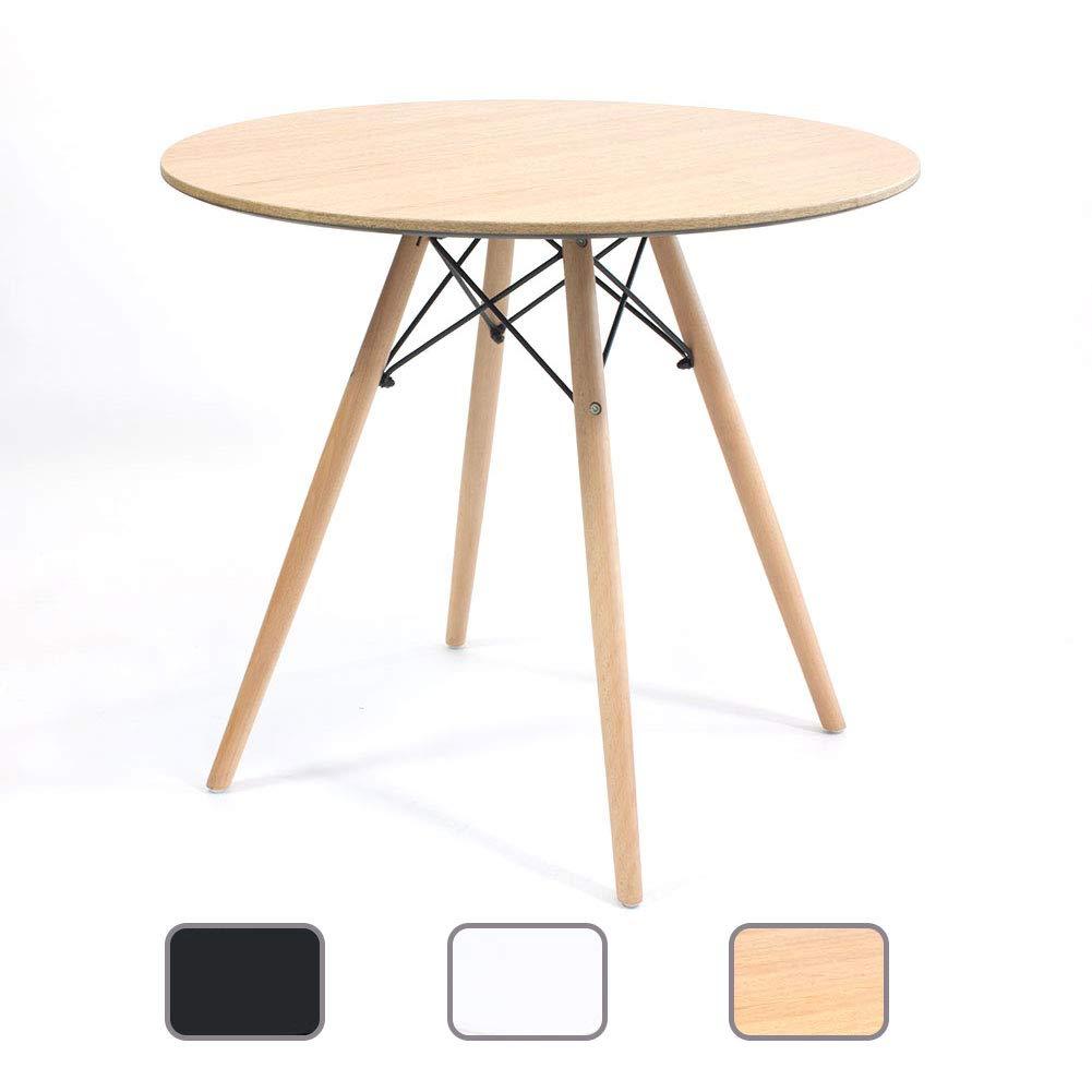 Joolihome Table Ronde Style Eames Table Ronde en Bois pour Bureau Salon Salle À Manger Cuisine (80x72CM) (Noir)