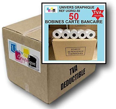 50 St/ück Packung mit 50 Rollen 57 mm x 40 mm Bonrollen Thermopapier-Belegdrucker Wei/ß Hochwertiges Papier