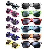12 Packs Man Women Retro Wholesales Neon Party Favor Sunglasses Accessories, Adult Multi color
