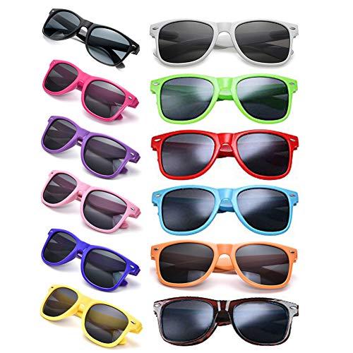 12 Packs Man Women Retro Wholesales Neon Party Favor Sunglasses Accessories ()