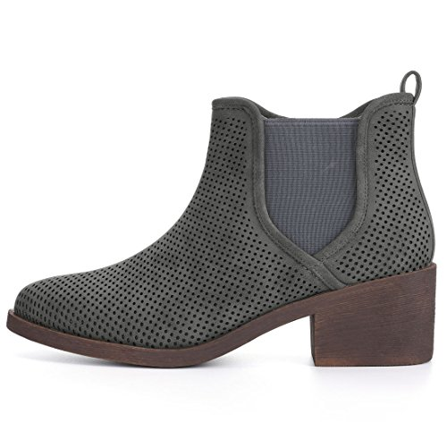 Heel Allegra Gray Chunky Chelsea Boots K Toe Women's Perforated Pointed 6Pavq1XP