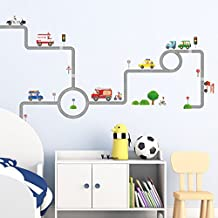 Decowall, DW-1604, Vehicles on The Roads peel & stick Nursery wall decals stickers