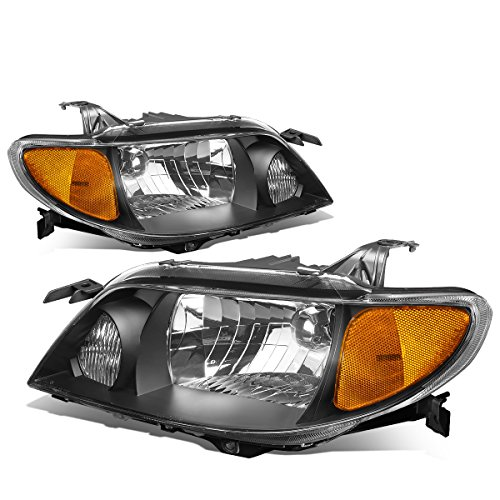 For Mazda Protege/Family BJ 8th Gen Pair of Black Housing Clear Amber Headlights Lamp