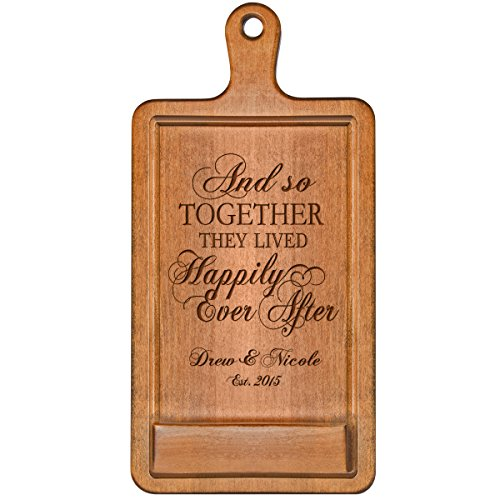 Personalized Cherry iPad Cook book Recipe holder with stand under counter for Kitchen with Family Name and Year Established date Happily Ever After Wedding Gift ideas for Him Her Couple by LifeSong Milestones