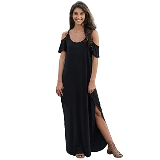 774d2a7ec06e Littleice Womens Sexy Off Shoulder Brif Straight Long Dress Short Sleeve  Solid Sling Loose Beach Party