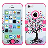 Thousand Eight(TM) APPLE IPHONE 5C Aztec Armor Hybrid Phone Protector Cover + [FREE LCD Screen Protector Shield(Ultra Clear)+Touch Screen Stylus] (TUFF case Love Tree/Electric Pink)
