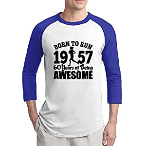 KDKD Fashion 3/4 Sleeve Raglan Birthday Gift Vintage 1957 For 60 Years Tshirts RoyalBlue XL For Mens Or Youth