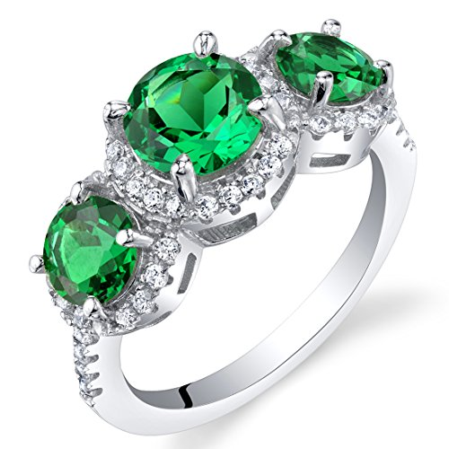 Simulated Emerald Sterling Silver 3 Stone Halo Ring Size 7 ()