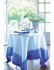Garnier Thiebaut Pantheon Cobalt Woven French Tablecloth 68 Inches X 68 Inches Green Sweet Treated 100 Percent Cotton Damask