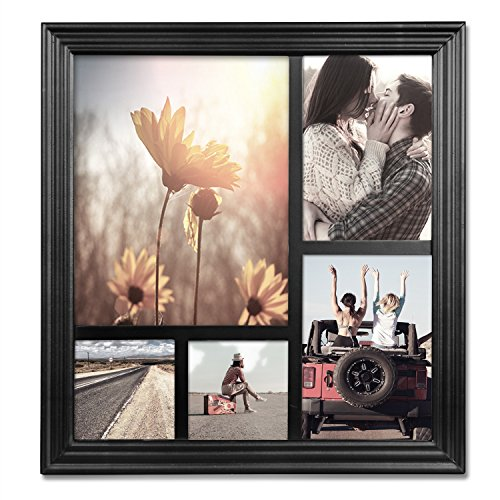 WOLTU 5 Openings Black Collage Picture Frame with Plexiglass Cover Wall Hanging Decor PF08blkS5-c