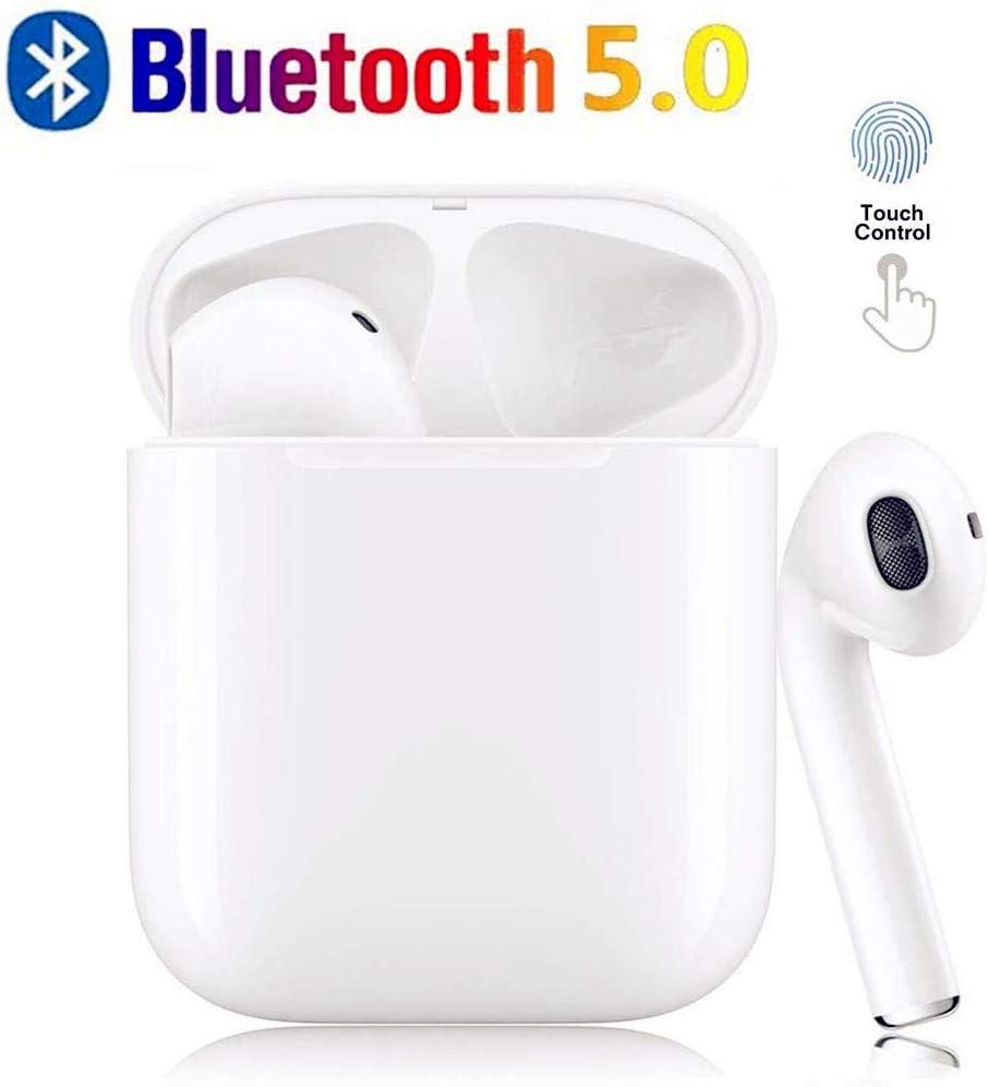 Auriculares Bluetooth TWS i12 Sonido Estéreo 3D Cancelación de Ruido Control Táctil Pop-Ups Auto Pairing IPX7 Impermeable Auriculares Inalámbricos para Deporte y Alegría Mini Blanco
