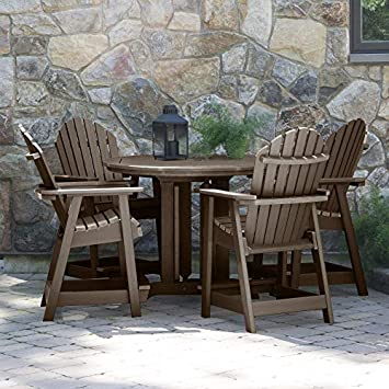 Highwood 5 Piece Hamilton Round Counter Height Dining Set, Weathered Acorn
