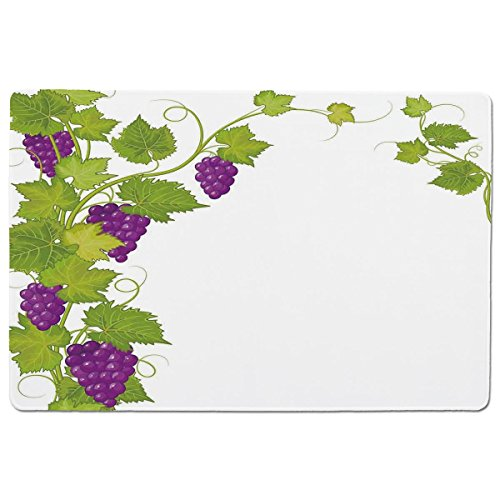 iPrint Pet Mat for Food and Water,Grapes Home Decor,Latin Brochure Label Italian Town Province Vintage Menu Sign Artwork,Violet Green,Rectangle Non-Slip Rubber Mat for Dogs and ()