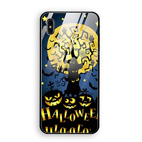 iPhone X Case, iPhone 10 Case, Happy Halloween Full Body Protection Hard Slim Tempered Glass Coated Case for Apple iPhone X (2017) -
