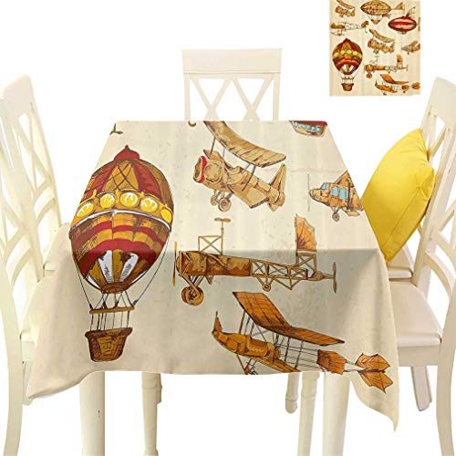 - Aviation Tablecloths, Vintage Old Flying Objects Hot Baloons Planes Parachutes Decor Square Fabric Table Covers for Dining Room Kitchen, 36'' x 36'' Sand Brown Apricot Mustard Red