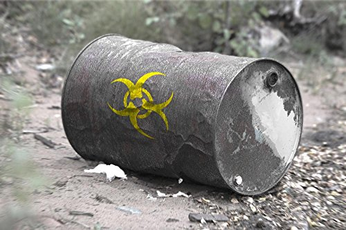 LAMINATED 36x24 inches Poster: Toxic Waste Barrel Broken Empty Run Toxic Risk Pollution Yellow Garbage Warning Characters Bad Accident Decay Ton Stainless Rust Rusted Leak Beat Atoms Bio Weapon
