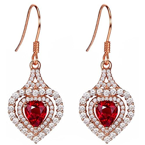 Earrings Heart Large Studded (Les Bohémiens Rose Gold Red Heart Crystal Pendant Necklace, Earrings, or Jewelry Set Studded with Sparkling Cubic Zirconia - Box, Card & Envelope Included for Easy Gifting (Earrings Only))