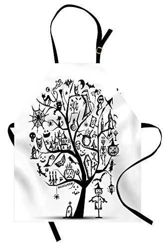 Ambesonne Halloween Apron, Sketchy Spooky Tree with Spooky Design Objects and Wicked Witch Broom Abstract, Unisex Kitchen Bib Apron with Adjustable Neck for Cooking Baking Gardening, White Black -