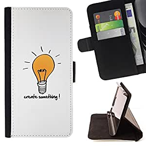 BullDog Case - FOR/Samsung Galaxy Core Prime / - / creativity motivational quote light bulb art /- Monedero de cuero de la PU Llevar cubierta de la caja con el ID Credit Card Slots Flip funda de cuer