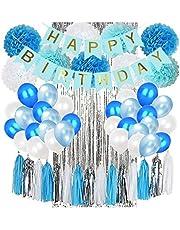Blue Birthday Decorations & Birthday Party Supplies,Happy Birthday Banners,Pom Poms Flowers