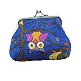 1 Pack Small Wallet, Coin Pouch Cute Owl Tree Pattern Purse Clasp Closure Clutch Bag Gift Buckle Pouch Change Purse (about 97cm/3.52.8inch, F)