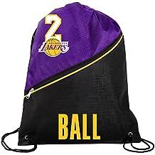 Los Angeles Lakers Official High End Diagonal Zipper Drawstring Backpack Gym Bag - Lonzo Ball #2