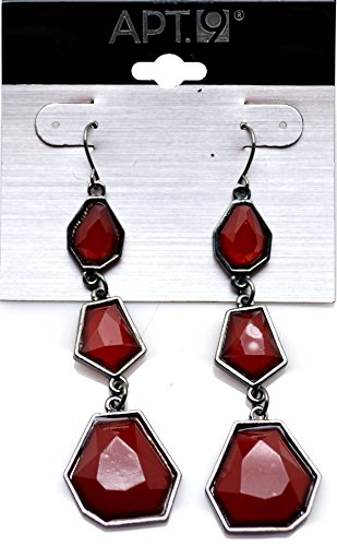 Apt.9. Silver Simulated Tone Red Bead Dangle Earring