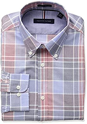 Tommy Hilfiger Men's Non Iron Slim Fit Plaid Buttondown Collar Dress Shirt