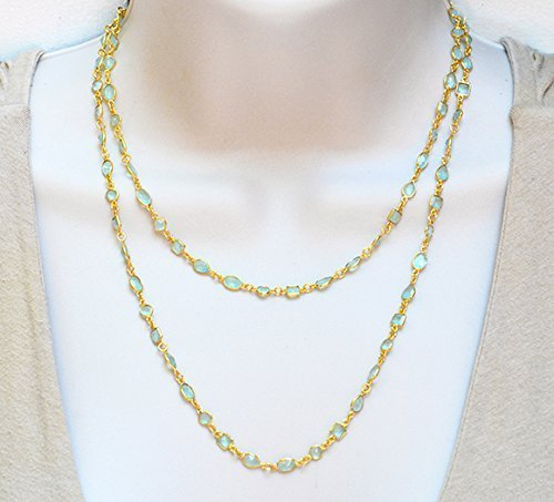 Long Aqua Chalcedony Necklace, Natural Gemstone Necklace, Layered