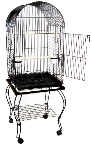 YML 20-Inch Dometop Parrot Cage with Stand, Black by YML