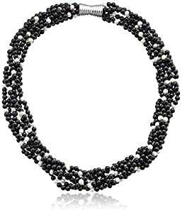 """4-4.5mm Black Agate and 3.5-4mm White Freshwater Cultured Pearl 7 Strand Necklace with Sterling Silver Fancy Magnetic Clasp, 18"""""""