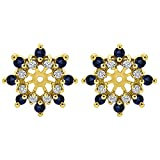 1/2 ct. Diamonds (G-H,I2-I3) and Sapphire Genuine Sapphire and Diamond Cluster Style Earring Jacket in Yellow Plated Sterling Silver (0.48 ct. twt.)
