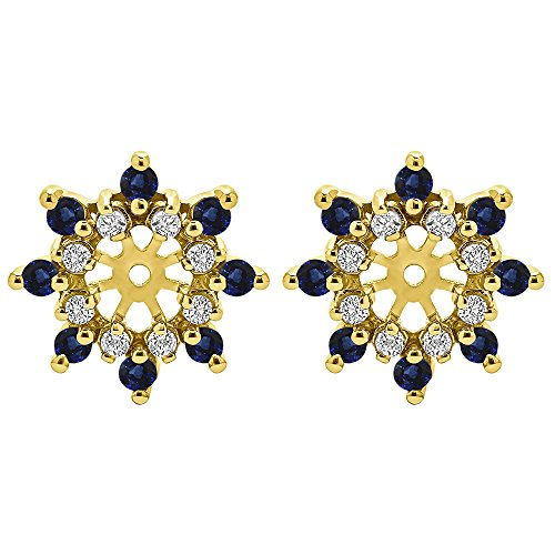 1/2 ct. Diamonds (G-H,I2-I3) and Sapphire Genuine Sapphire and Diamond Cluster Style Earring Jacket in 14k Yellow Gold (0.48 ct. twt.) by TwoBirch