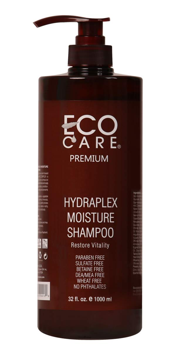 ECOCARE Hydraplex Moisture Shampoo, 32 fl. oz. - For Brittle, Dull and Frizzy Hair - Prevent Protein Loss - Nourish Scalp - Moisturize Hair Strands - No Sulfate and No Paraben - Made in USA by ECOCARE