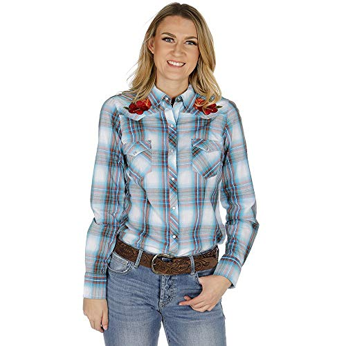 Roper Apparel Womens/Red Plaid Floral Embroidered Long Sleeve Snap Shirt L - Shirt Roper Embroidered