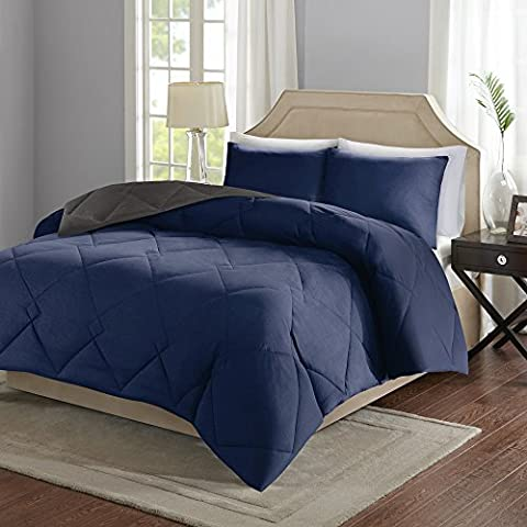 Comfort Spaces – Vixie Reversible Down Alternative Comforter Mini Set - 2 Piece – Navy and Charcoal – Stitched Geometrical Diamond Pattern – Twin/Twin XL size, includes 1 Comforter, 1 - Blue Reversible Comforter