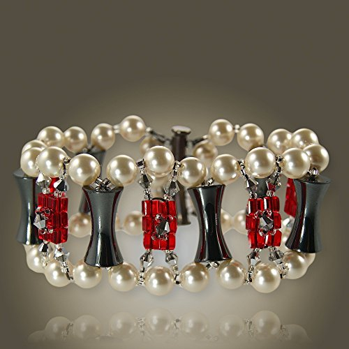 Pearl and Crystal Bracelet- Hemalyke Glass Beads- Elegant Bracelet- Unusual - Celebrities Glasses Wear