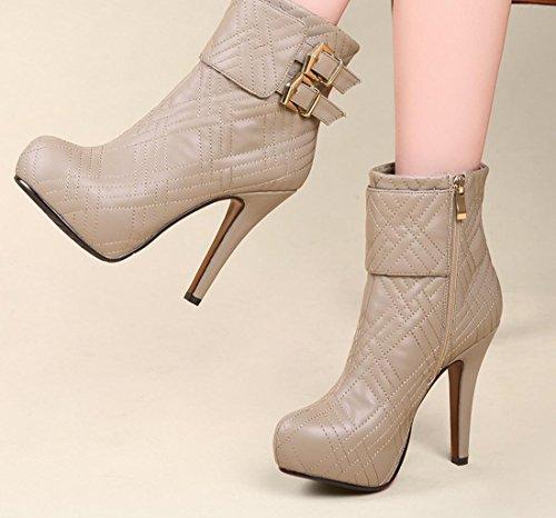YCMDM tacco alto stivali impermeabili della piattaforma Belt Buckle Moda Scarpe nuove donne di modo temperamento Primavera Autunno Winterapricot Rosso Nero 33 34 35 36 37 38 39 40 , apricot , 39