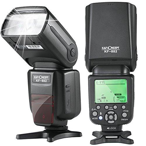 (K&F Concept E-TTL Speedlite Flash 1/8000s HSS Wireless Master/Slave Auto-Focus Function Compatible Canon DSLR Cameras)