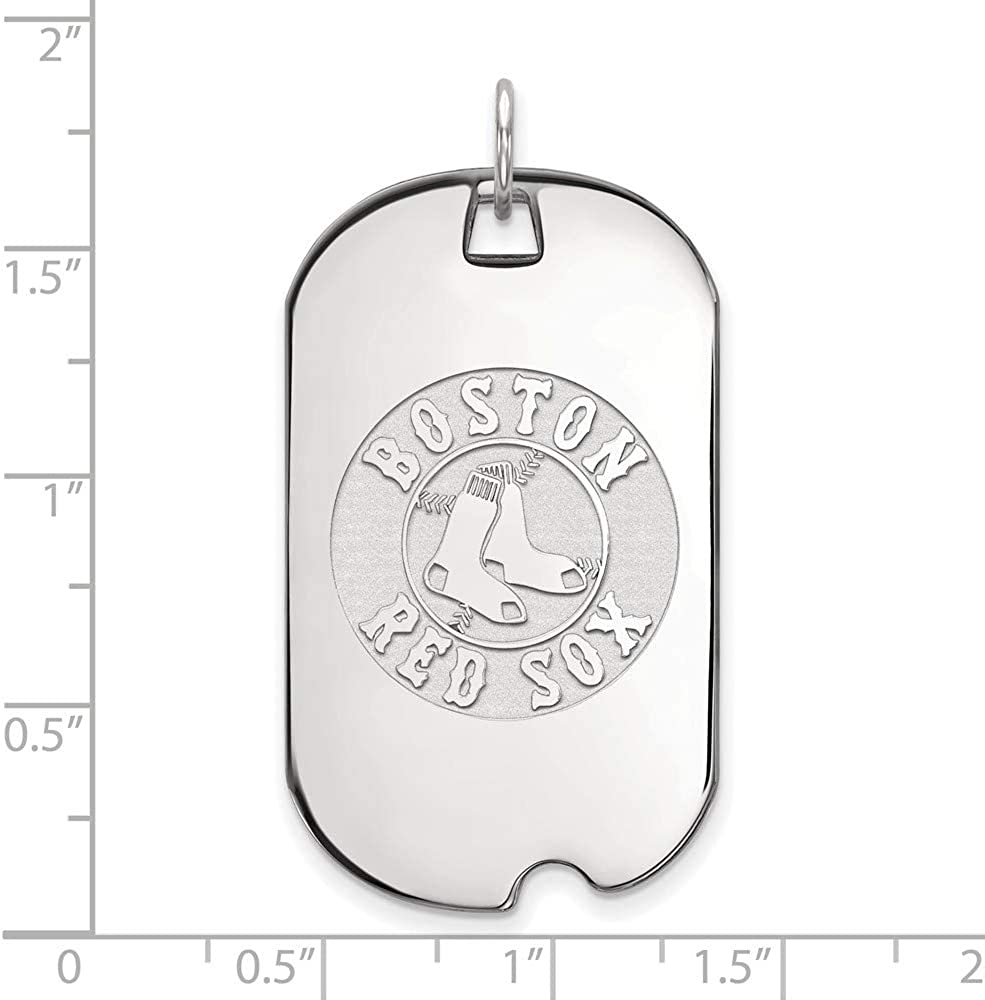 MLB Boston Red Sox Sterling Silver MLB LogoArt Boston Red Sox Large Dog Tag Size One Size