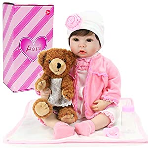 Aori Reborn Baby Doll Realistic Silicone Baby Doll for Girls Children Gift 22 Inch with Brown Teddy